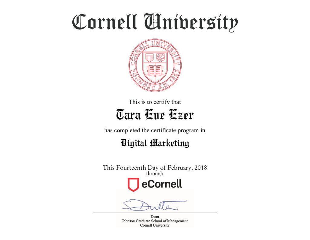 marketing certificate ecornell tags